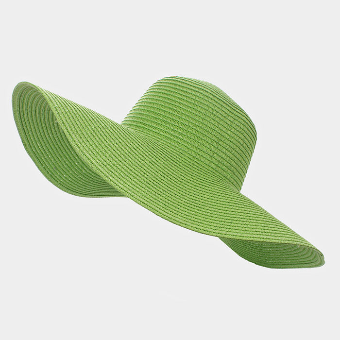 Always Diva Straw Floppy Sun Hat  - Green
