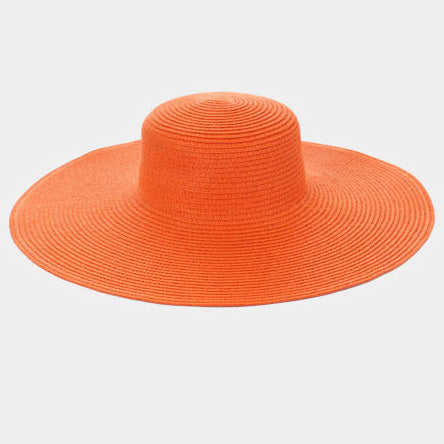 Always Diva Straw Floppy Sun Hat  - Orange