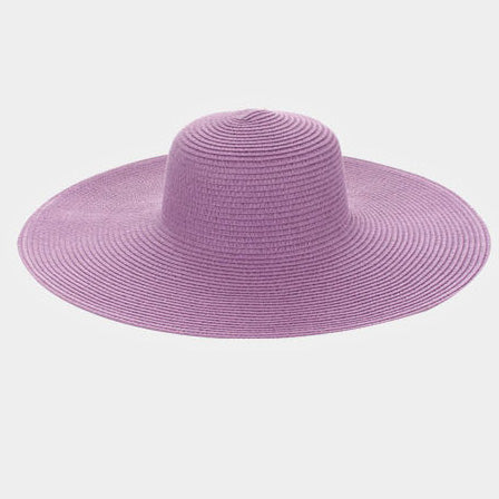 Always Diva Straw Floppy Sun Hat  - Purple