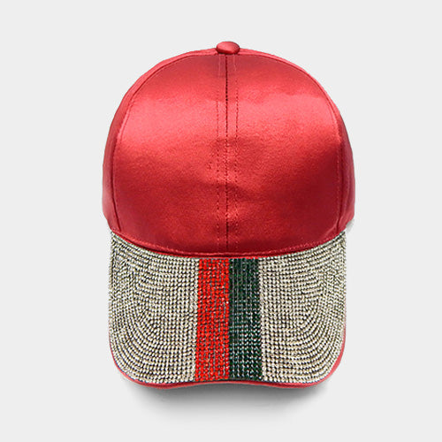 Bling Crystal Embellished Color Block Baseball Cap - Red