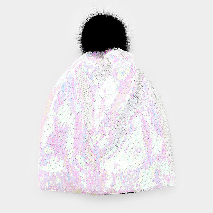 Reversible Sequin Faux Pom Pom Beanie Hat - AB/White