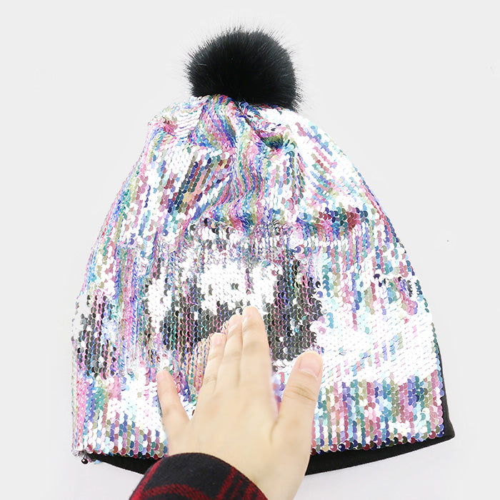 Reversible Sequin Faux Pom Pom Beanie Hat - Silver, Multi