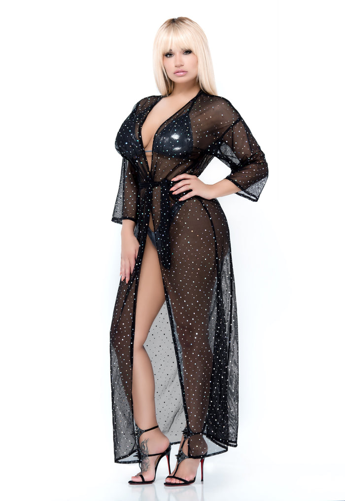 Decadence Sheer Long Robe Cover Up - Black