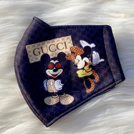 Designer Inspired Face Mask - GG Mickey / Minnie Mouse Black