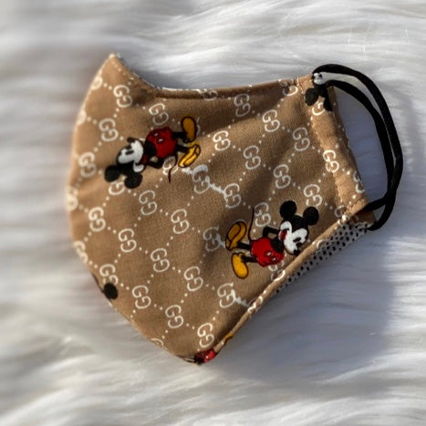 Designer Inspired Face Mask - GG Mickey Mouse Brown
