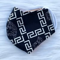 Designer Inspired Face Mask - Vers Black / White