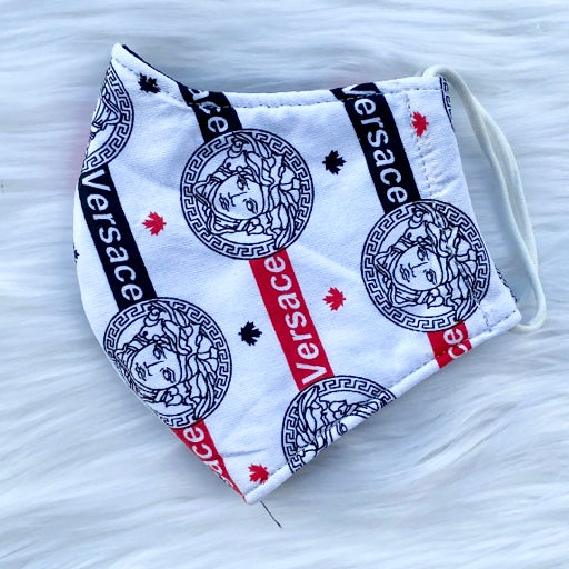 Designer Inspired Face Mask - Vers White / Black / Red