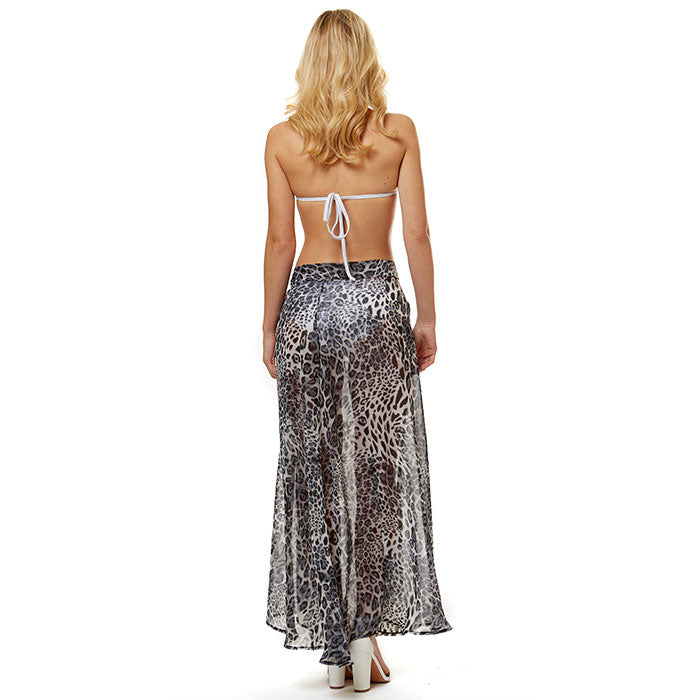 Leopard Beach Wrap Skirt - Gray