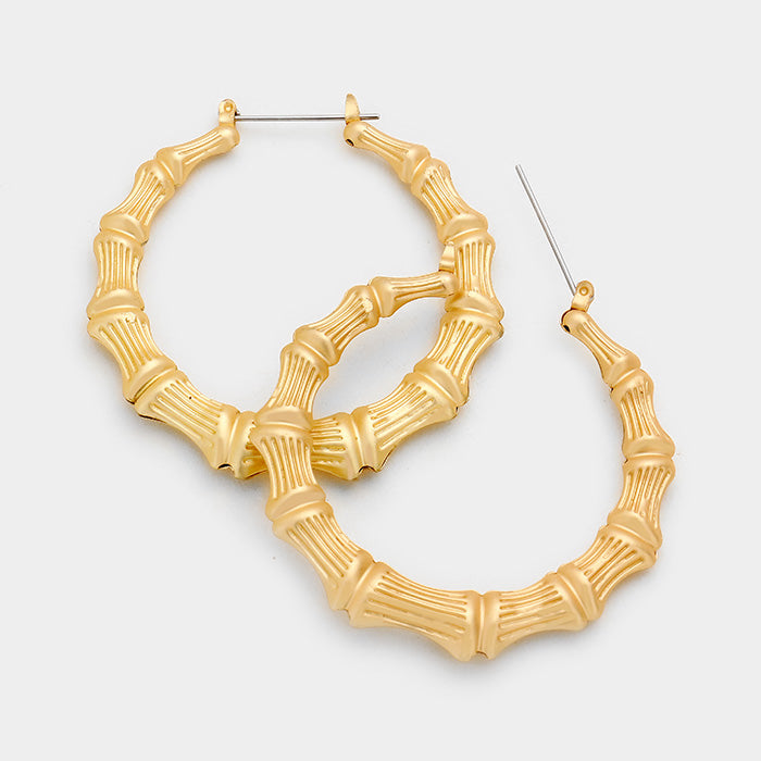 Matte Bamboo Metal Hoop Earrings - Gold