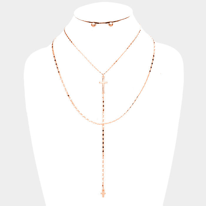 Rosary Cross Double Layered Choker - Set