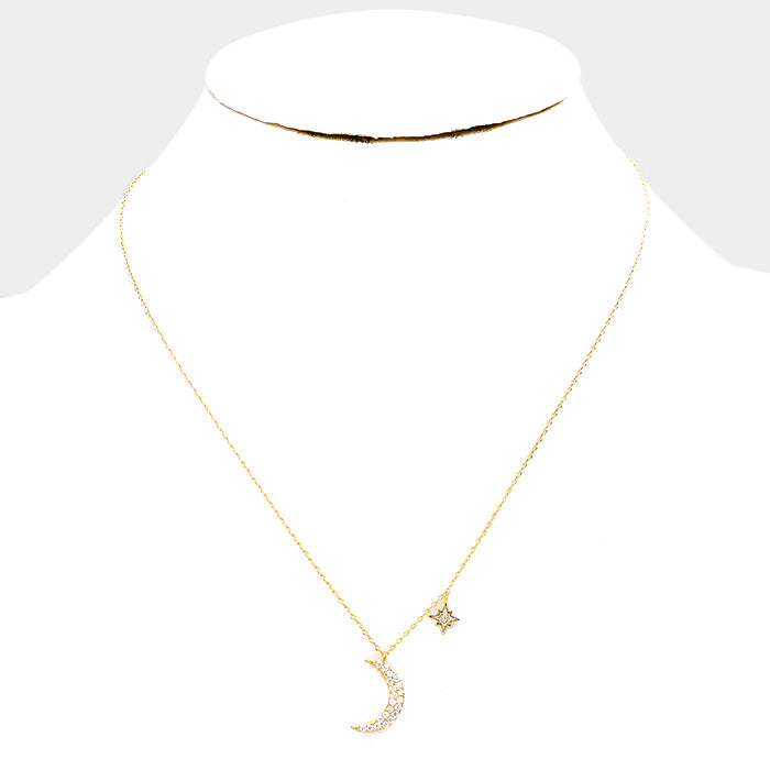 14k Gold Dipped CZ Moon North Star - Necklace