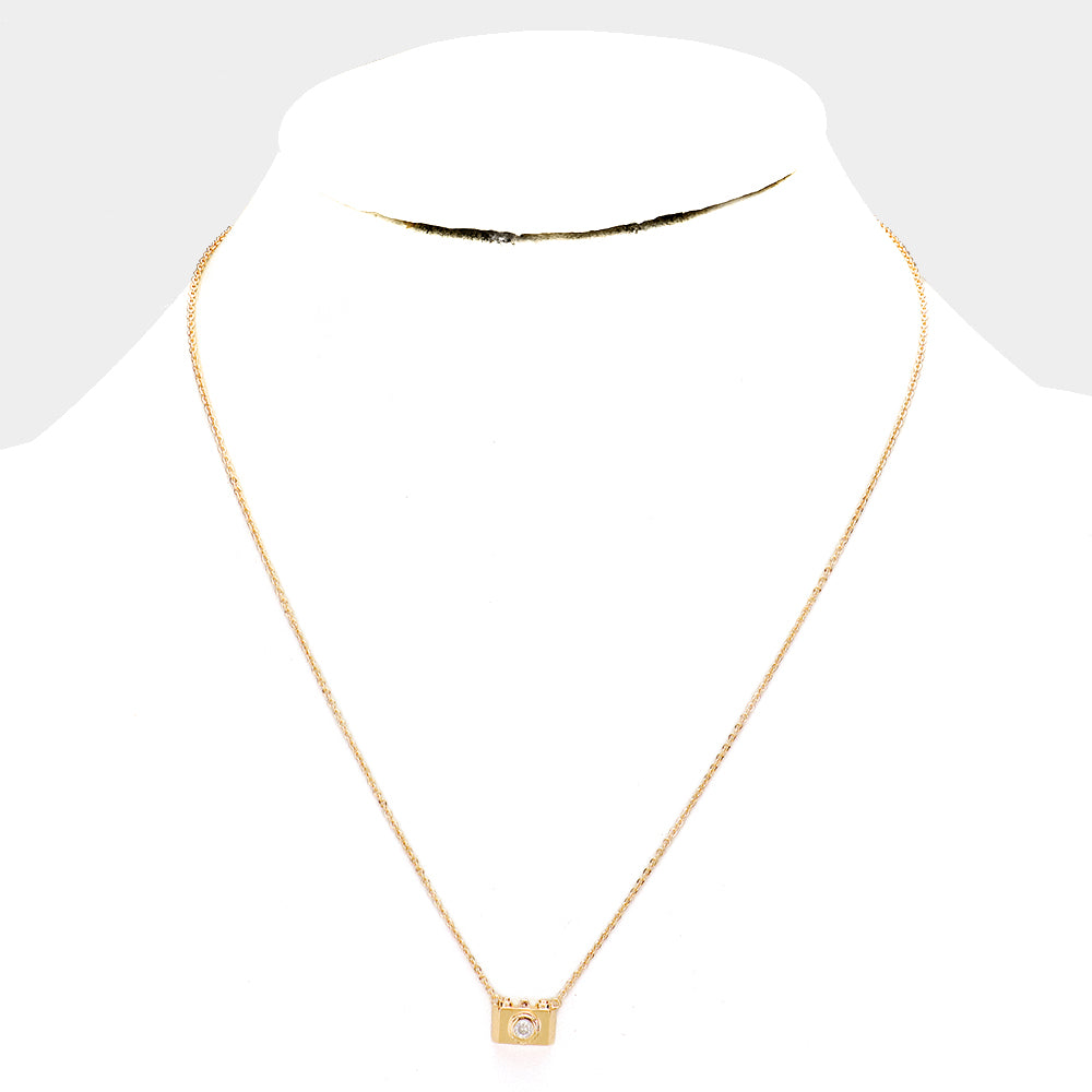 Gold Dipped Cubic Zirconia Camera Pendant Necklace - Gold