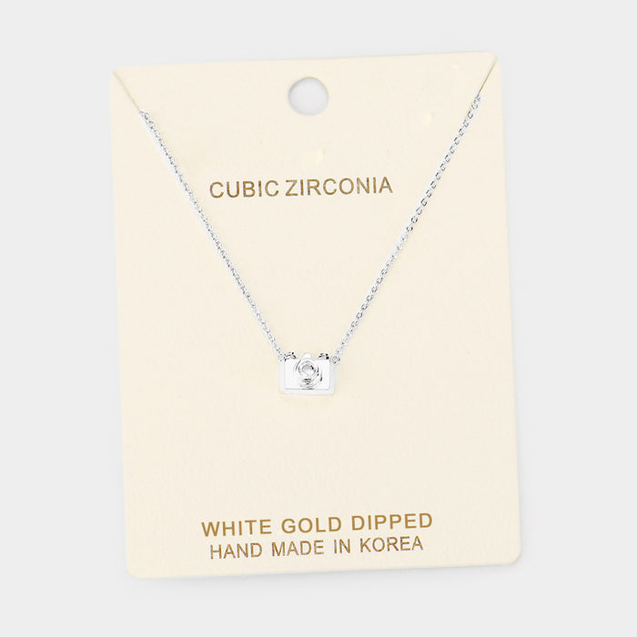 Gold Dipped Cubic Zirconia Camera Pendant Necklace - White Gold