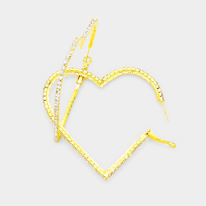 Heart Rhinestone Hoop Earrings - Clear, Gold