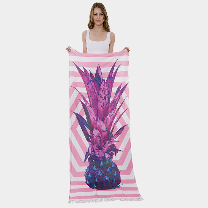Purple Pineapple Print Rectangle Beach Towel