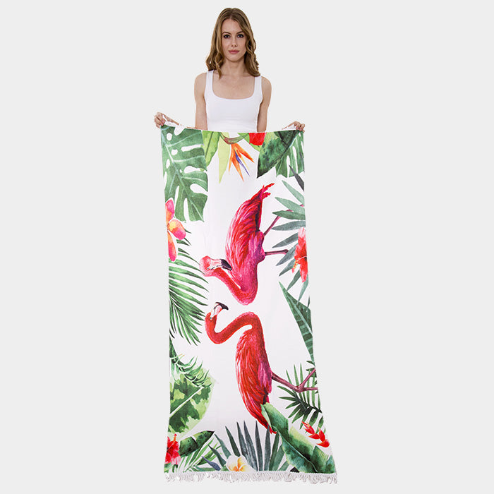 Flamingo Tropical Leaves Print Rectangle Beach Towel