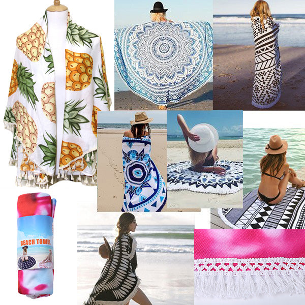 Pineappl Terry Cloth Round Beach Towel With Tassel Trim