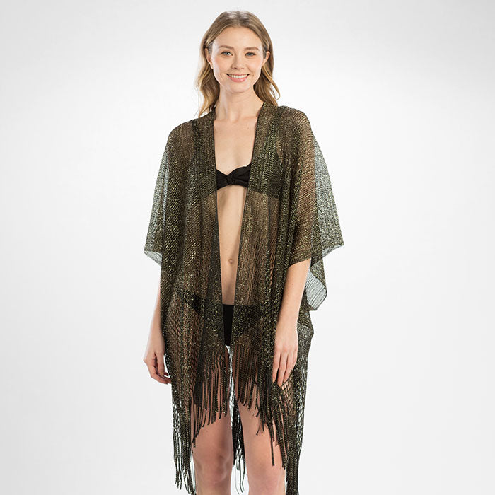 Metallic Net Fringe Cover Up - Black