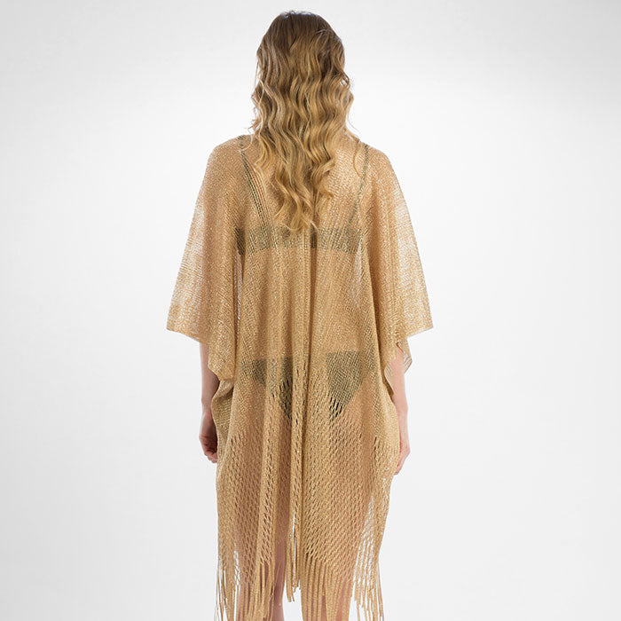 Metallic Net Fringe Cover Up - Gold