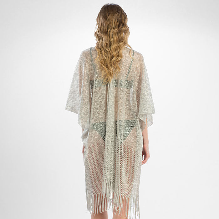 Copy of Metallic Net Fringe Cover Up - Silver