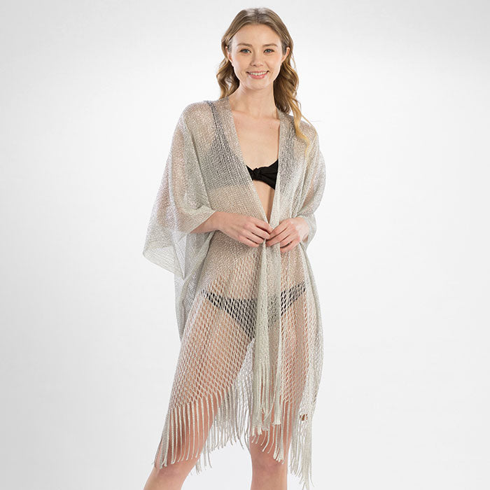 Metallic Net Fringe Cover Up - Silver