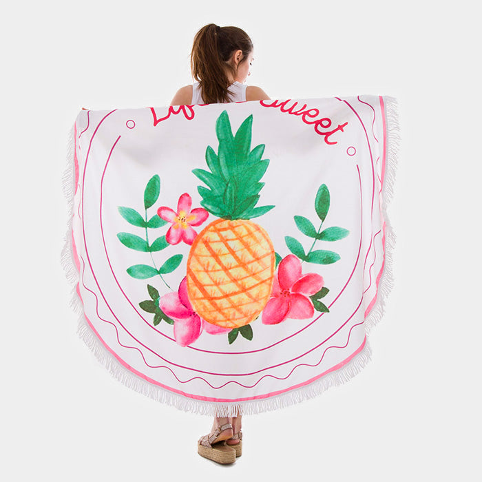 Pineapple Tassel Trim Round Beach Towel