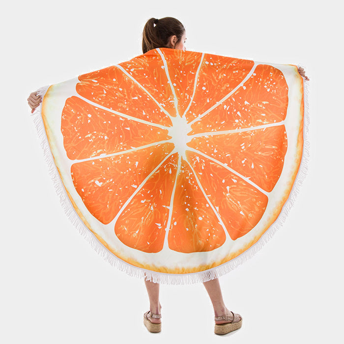 Orange Terry Cloth Round Beach Towel