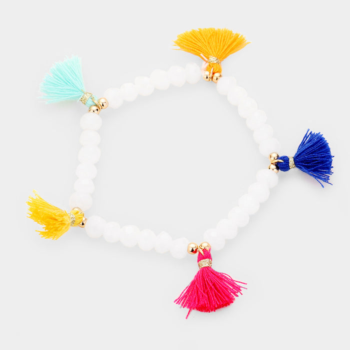 Tassel Beaded Stretch Bracelet - White / Multi
