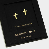 14k Gold Dipped Cross Stud Earrings