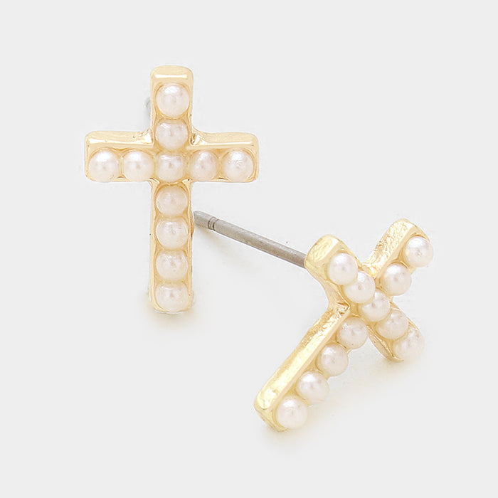 Cutie Crystal Cross Earrings - Pearl