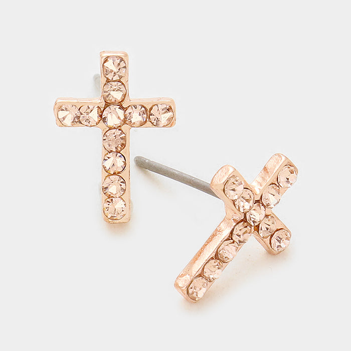 Cutie Crystal Cross Earrings - Rose Gold