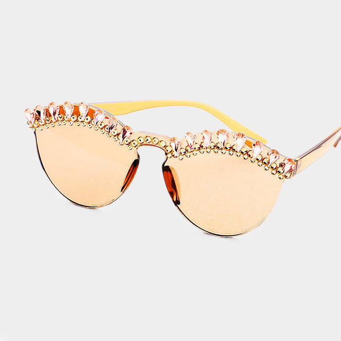 Crystal Embellished Trim Rimless Cat Eyes Sunglass - Peach