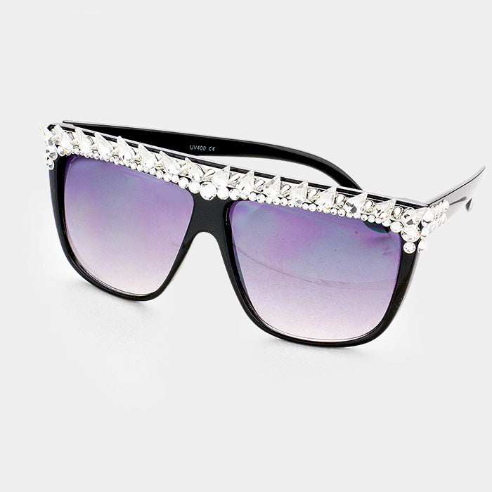 Boss B. Crystal Embellished Detail Square Sunglasses