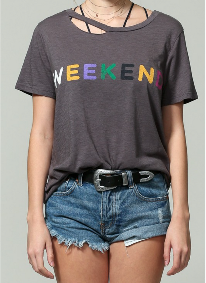Weekend Rainbow Tee - Charcoal
