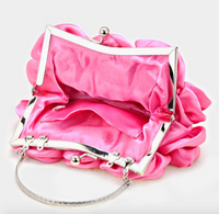 Satin Rose Flower Bag - Pink