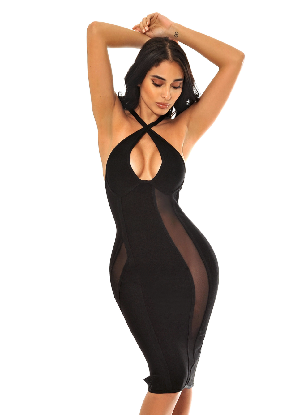 Lisa Criss Cross Halter Top Mesh Detail Bandage Dress - Black