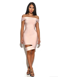 Brittany Off The Shoulder Cut Out Dress - Pink