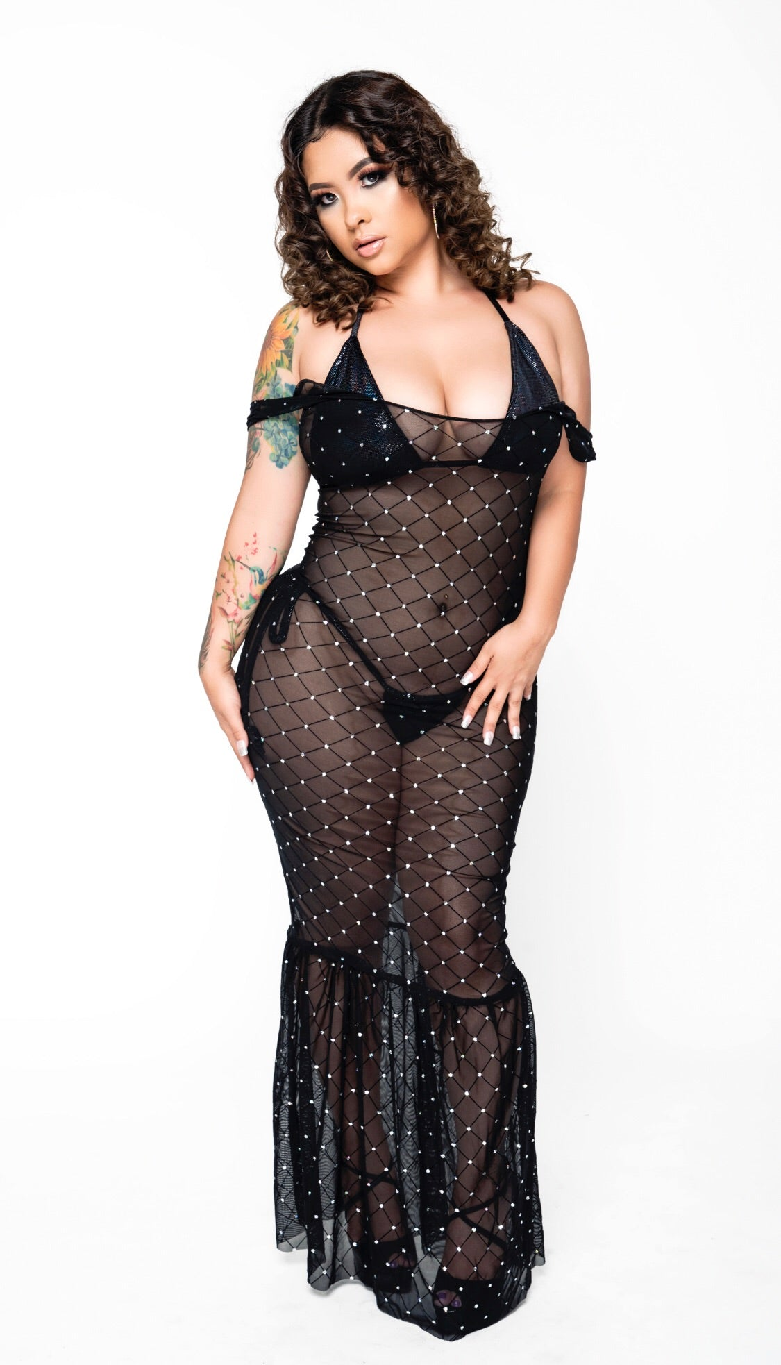 Spoiled In Sparkles Sheer Mermaid Dress - Black