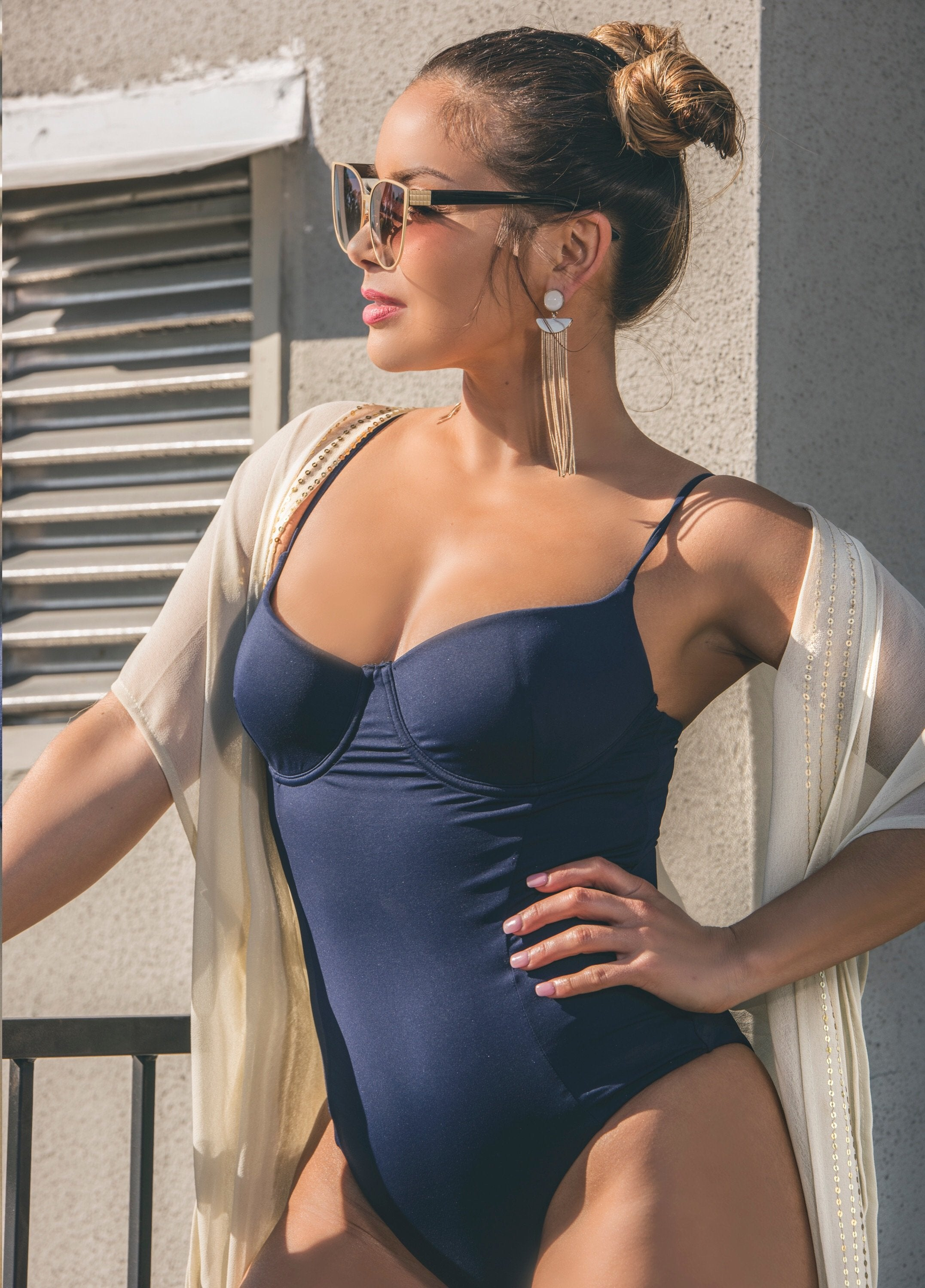 Isabella One-Piece Swimsuit - Navy