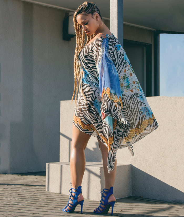 Zebra Abstract Pattern Poncho - Cover Up