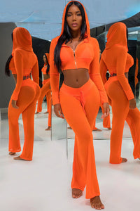Selena Mesh Hoodie Cover Up Two Piece Set - Orange