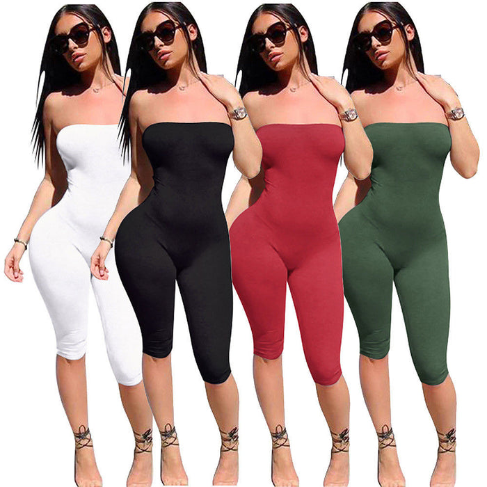 Dangerous Curves Tube Top Cropped Leg Jumpsuit