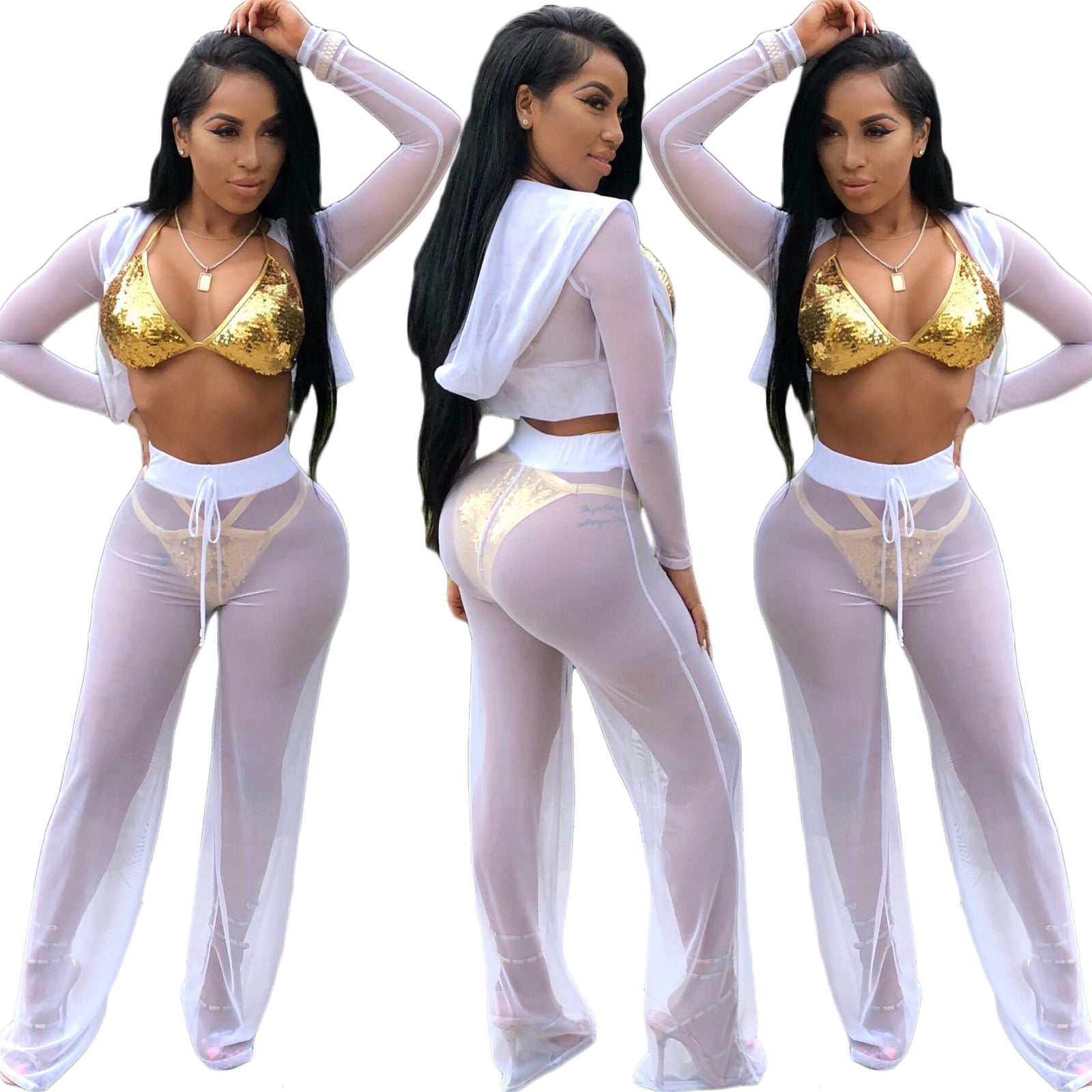 Selena Mesh Hoodie Cover Up Two Piece Set - White