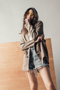 Oversized Fit Plaid Pattern Jacket