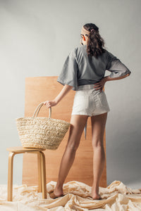 Lace-up Front Linen Shorts