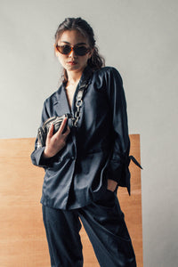 Arvy Oversized Silk Suit Top