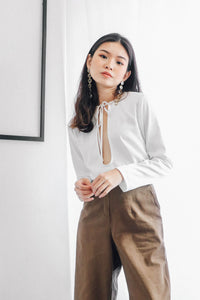 Sage Keyhole Blouse in White