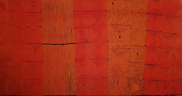 "Ronnie Tjampitjinpa ""Tingari"" 358 x 181 cms P.O.A. (please DM for price)"