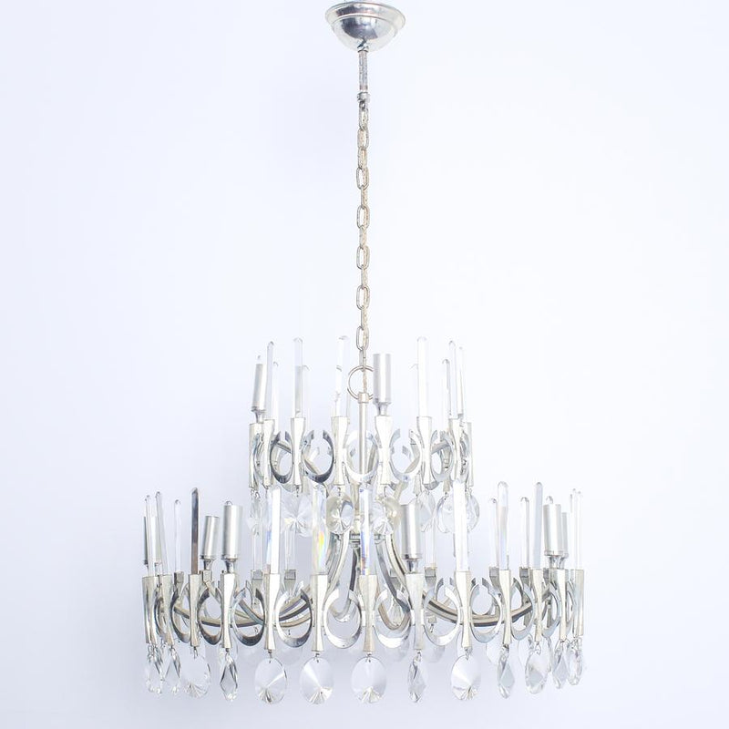 Gaetano Sciolari 'Crystal and Silver Plated Chandelier'
