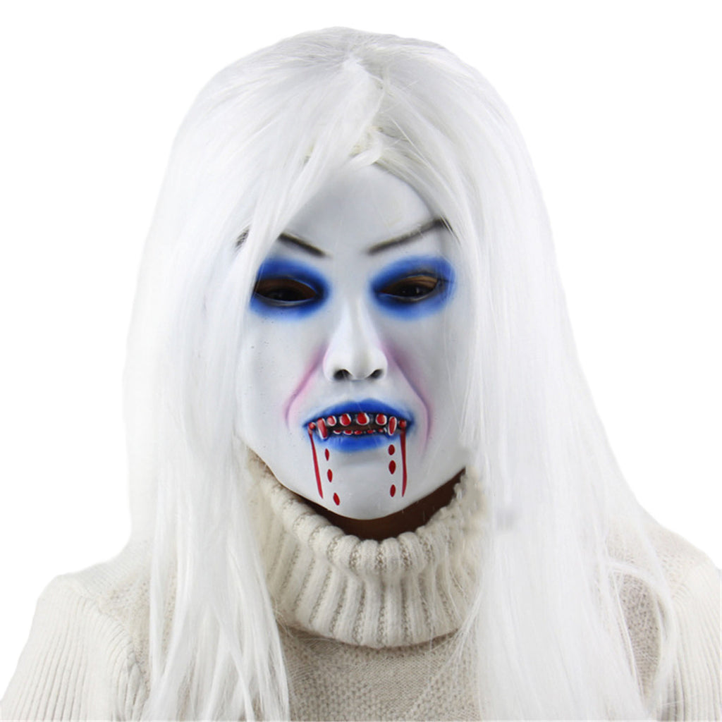Toothy Zombie Bride With White Hair Scary Mask